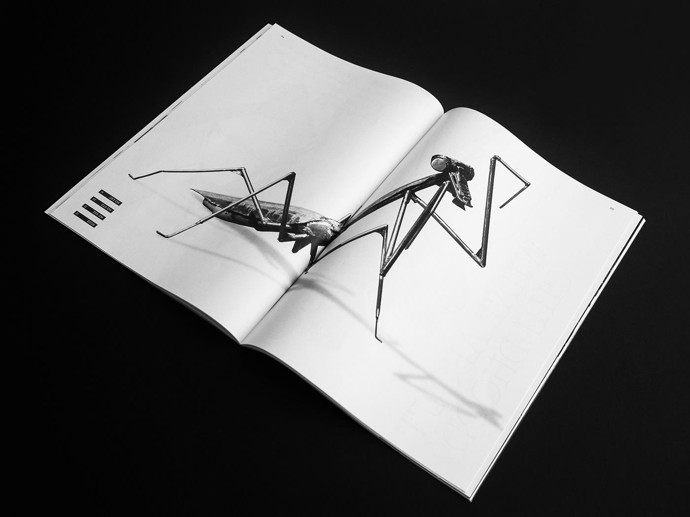 Booklet catalog editorial design  sculpture black and white editorial metal portfolio trend brutal