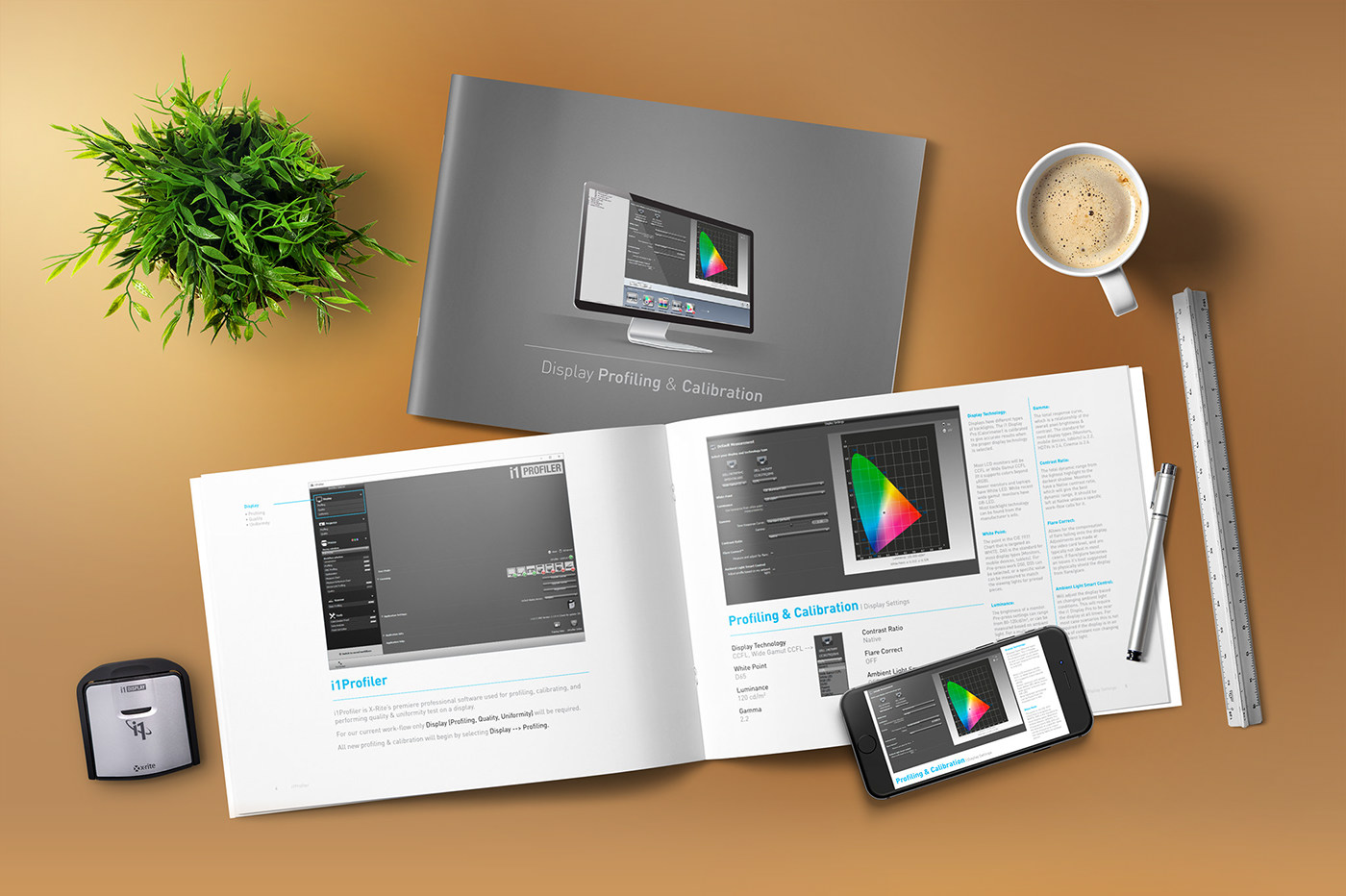 color management Display profiling calibration manual i1DisplayPro calorimeter xrite