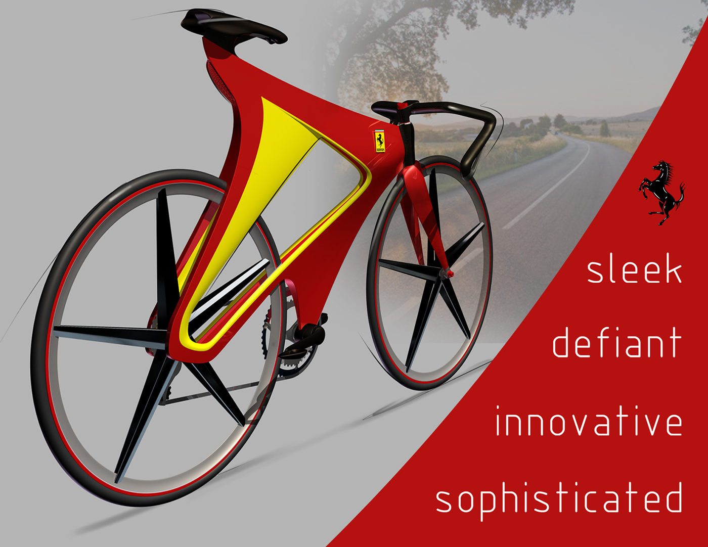 FERRARI Bicycle Bike design brand tagliare 3D modeling Alias studiotools