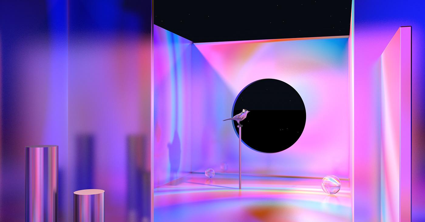 design vapor wave pink glossy 3D octane branding  animation  prints