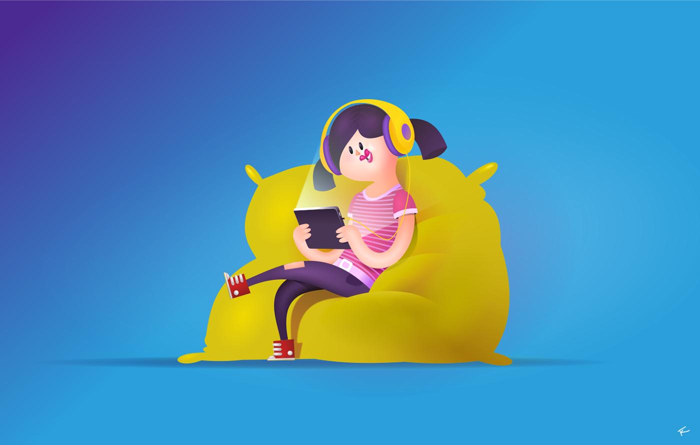 DIGI.TV - campagn illustrations