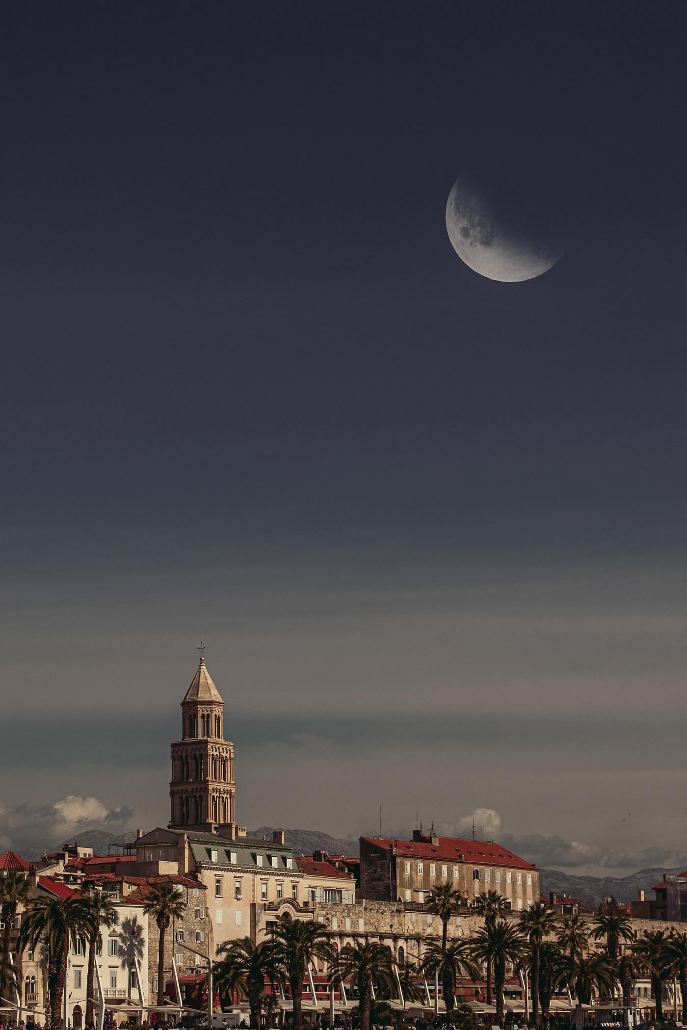 moon city town dark Nature portrait colour color big moon giant moon