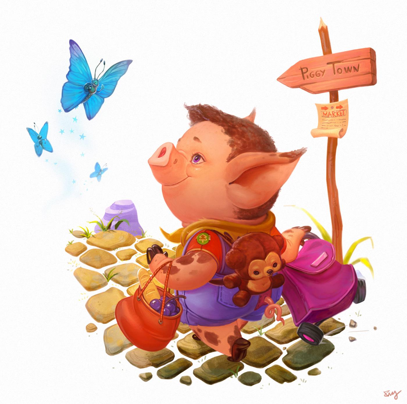 pig nursery rhyme story children's ILLUSTRATION  storybook happy piggy Shopping