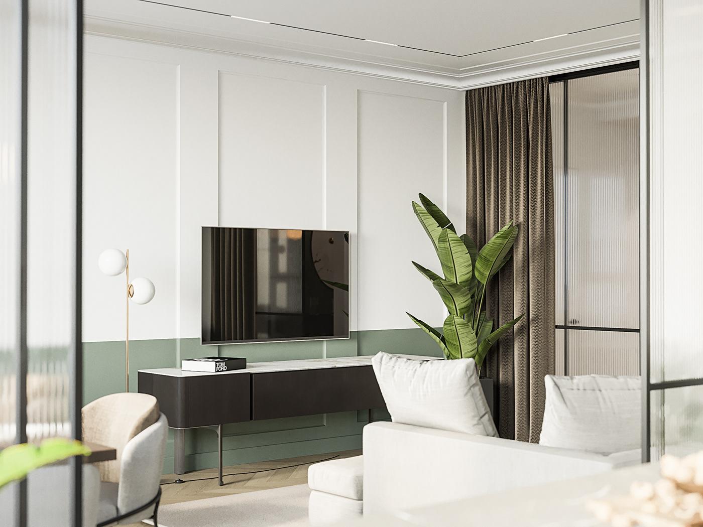 дизайн интерьер москва Конпепт современный зеленый Interior Moscow corona render