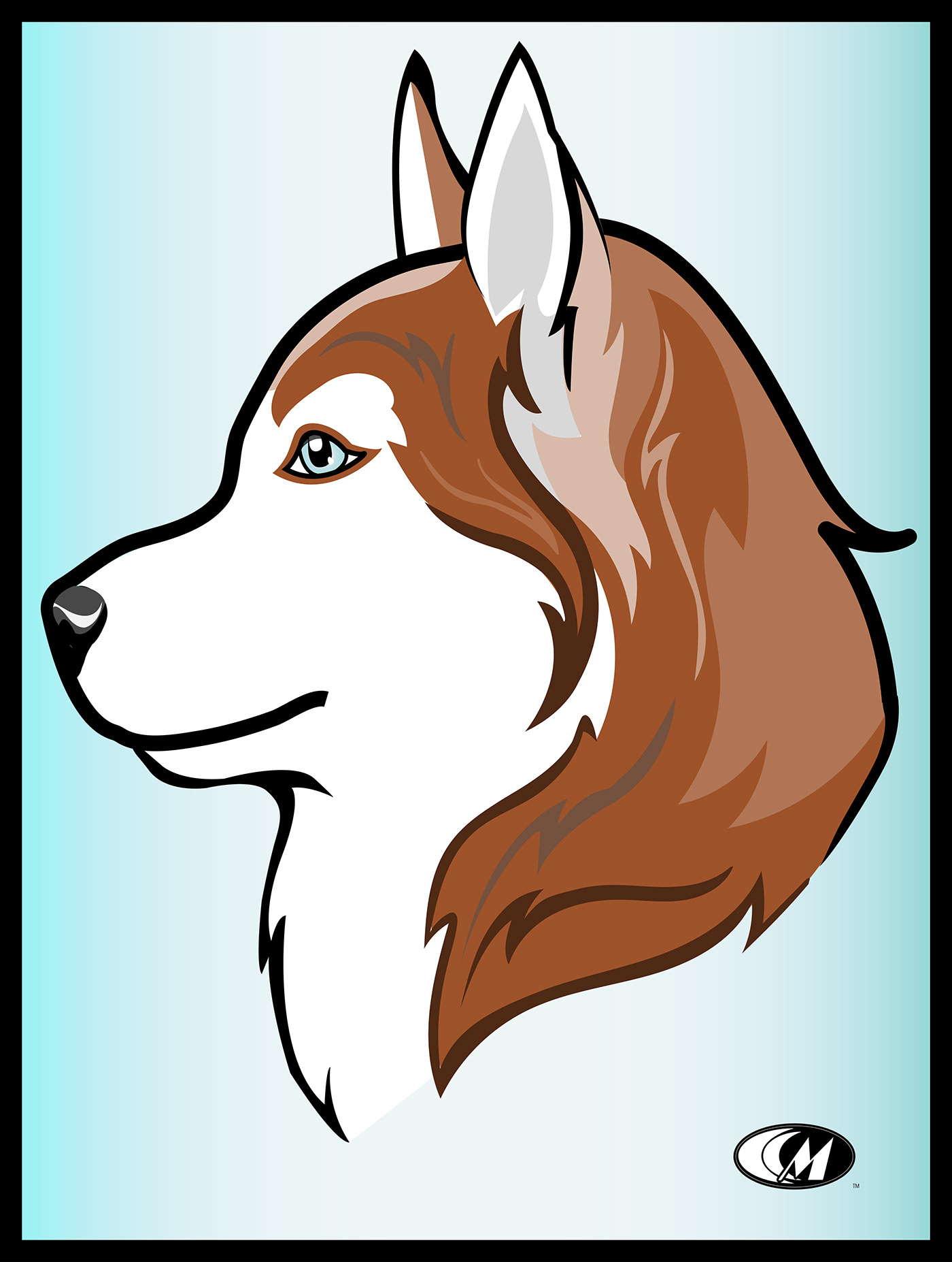 dog husky portrait black White blue green ILLUSTRATION  Custom design