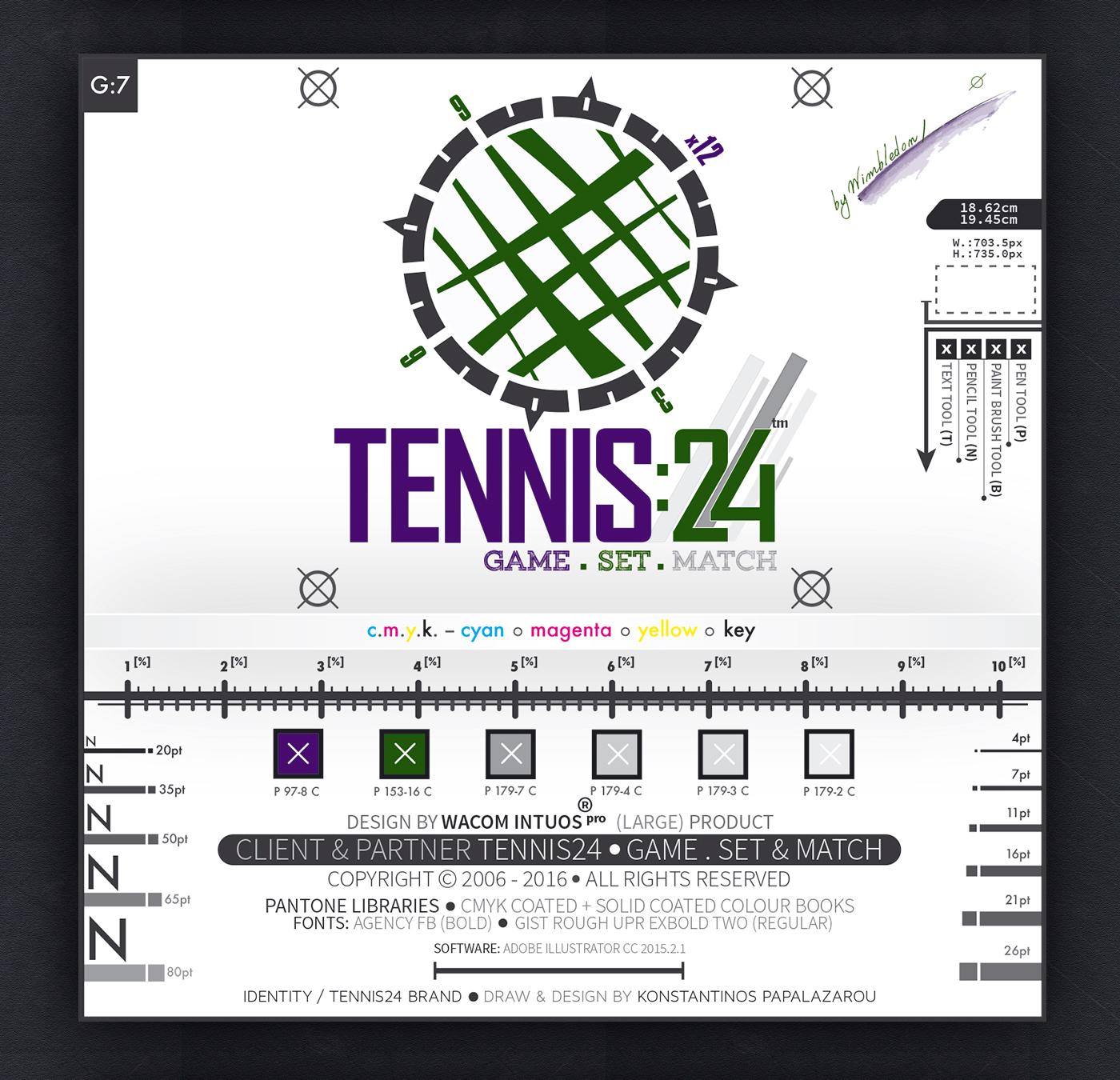 konstantinos papalazarou papalazarou konstantinos VisionArt vision art studios vision art tennis24 tennis logo logotype presentation brand wacom intuos pro