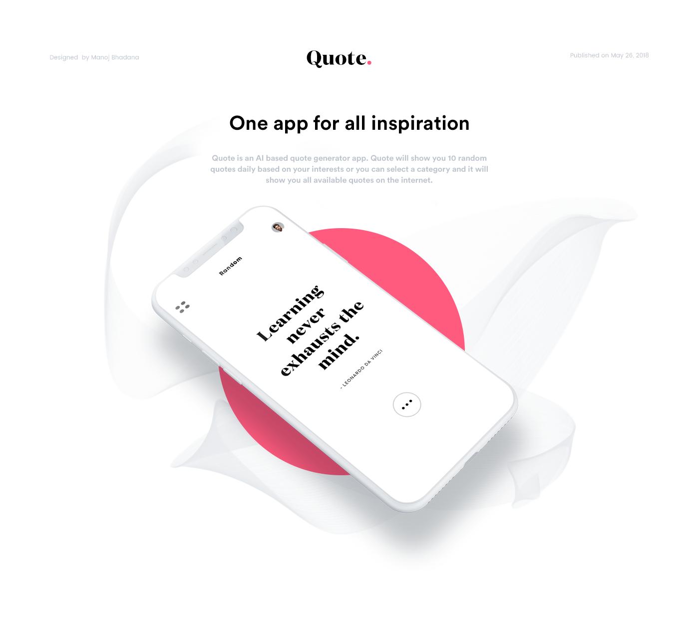 quote Generator app design Clean Design typography   Manoj Bhadana ux UI design creative