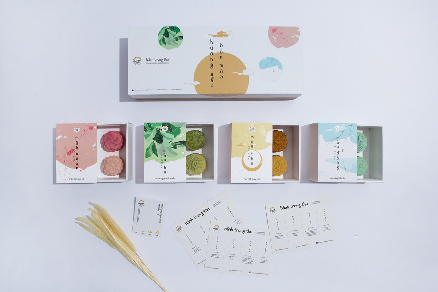 mooncake Packaging mid autumn japan package cake season four seasons asian natural