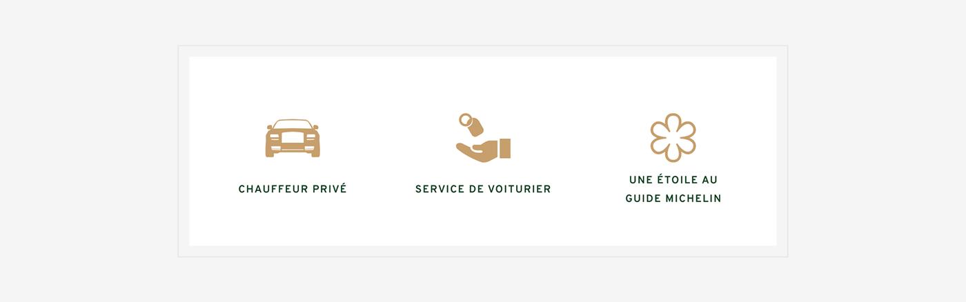 Customized icons for restaurant du palais royal. Chauffeur privé; service de voiturier; une étoile