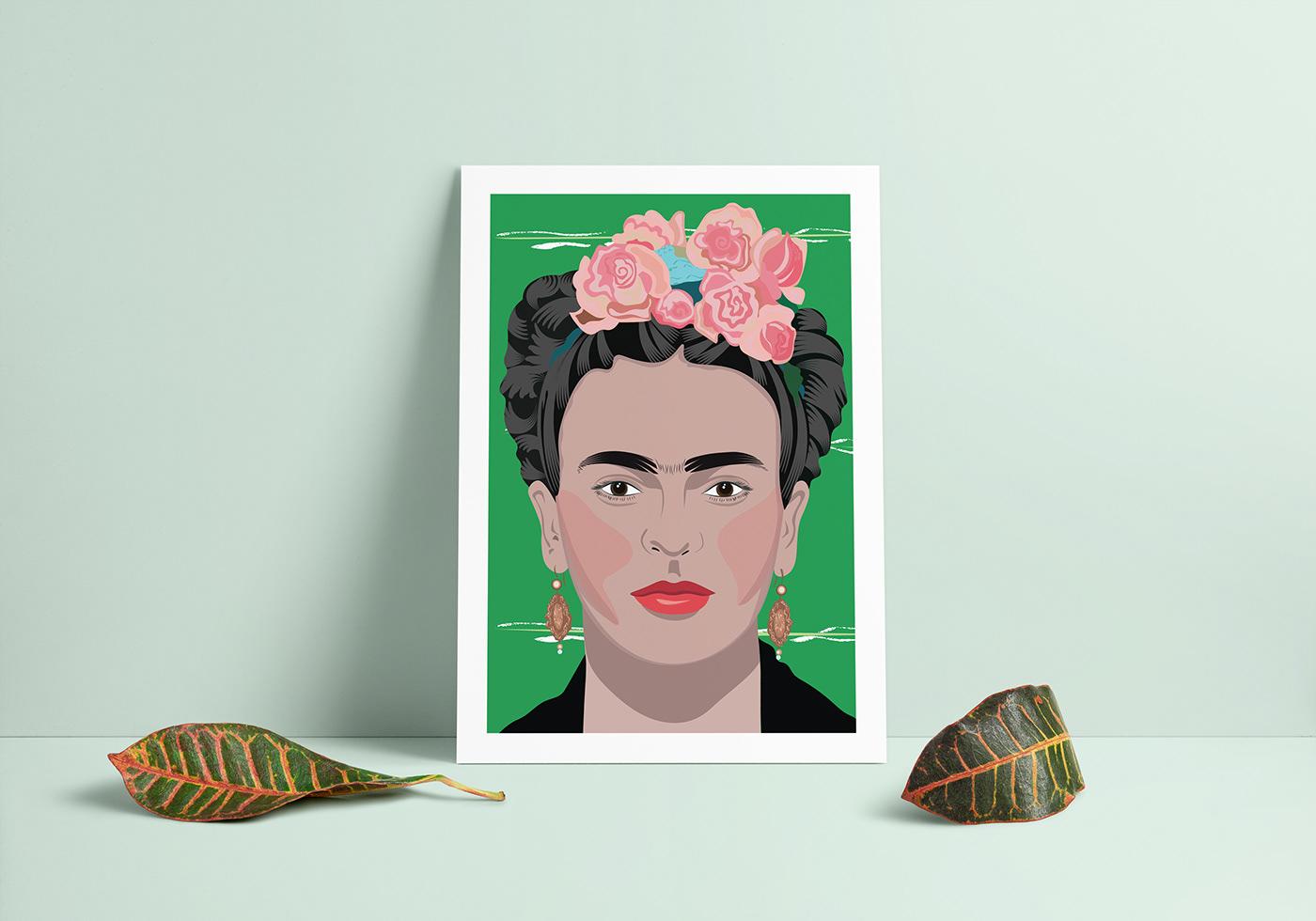 adobe illustrator art art print Audrey Hepburn Frida Khalo ILLUSTRATION  Marylin Monroe