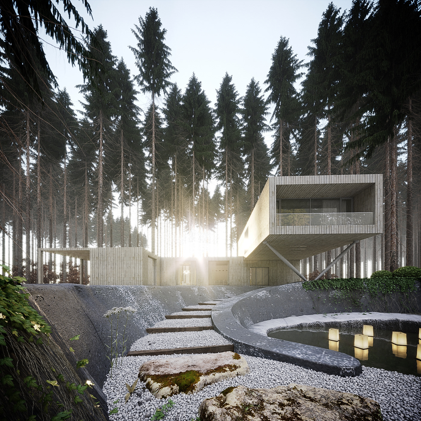 architect architecture concept house HouseInForest Project