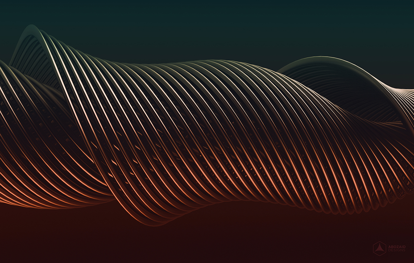 3D wire photoshop lines 3dart gold red blue 4K background