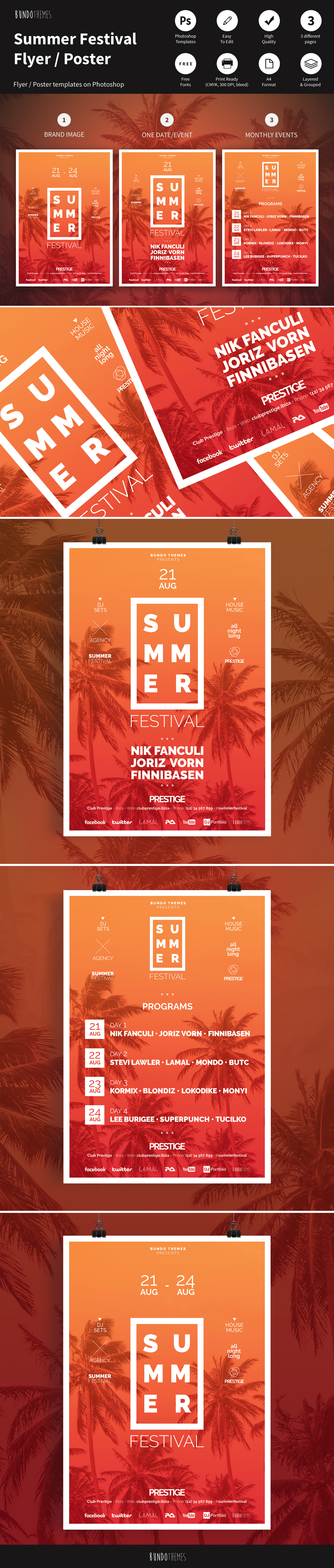 summer flyer flyer template print festival poster download club flyer dj