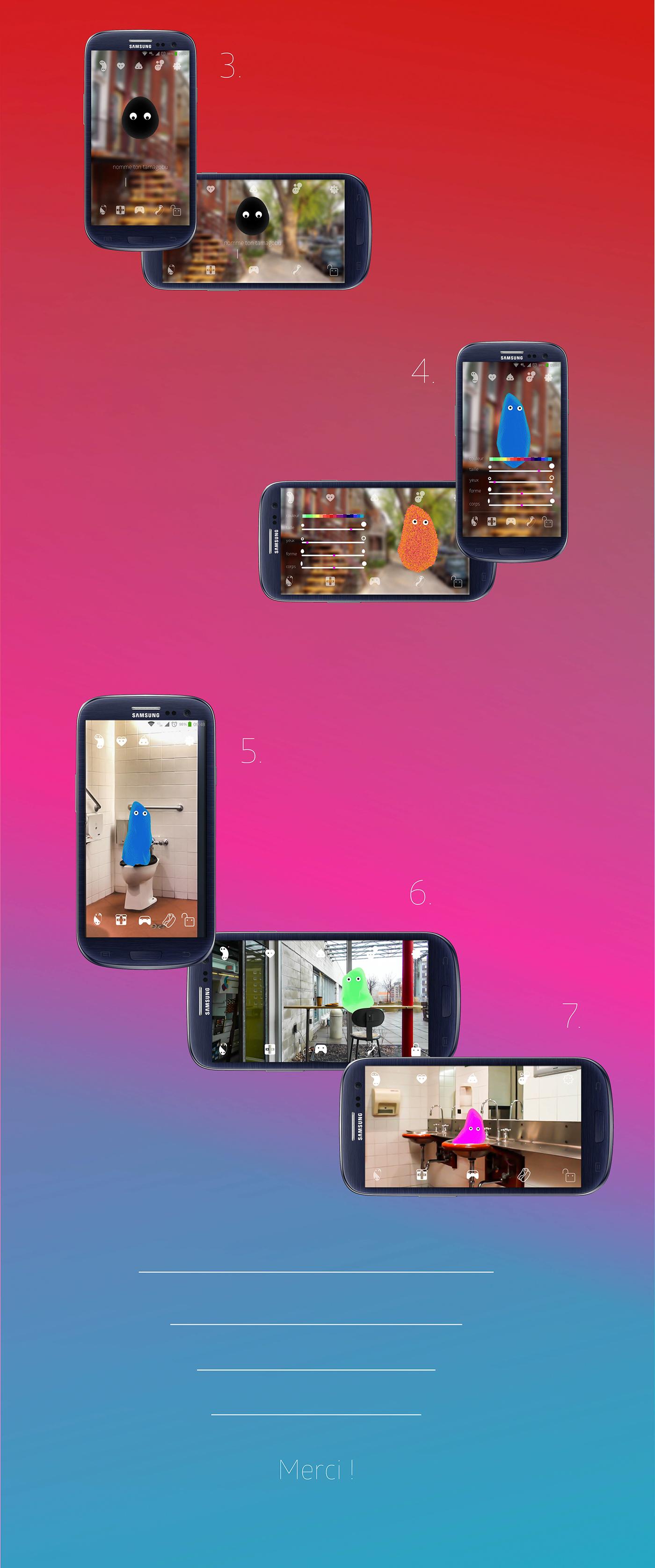 tamagochi application réalité augmentée AR interaction Characters Design graphic design  UI/UX app design Flubber UQAM