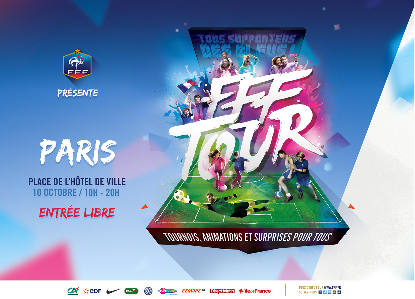 FFF tour Event soccer football sport poster design brush lettering sketch digital art france
