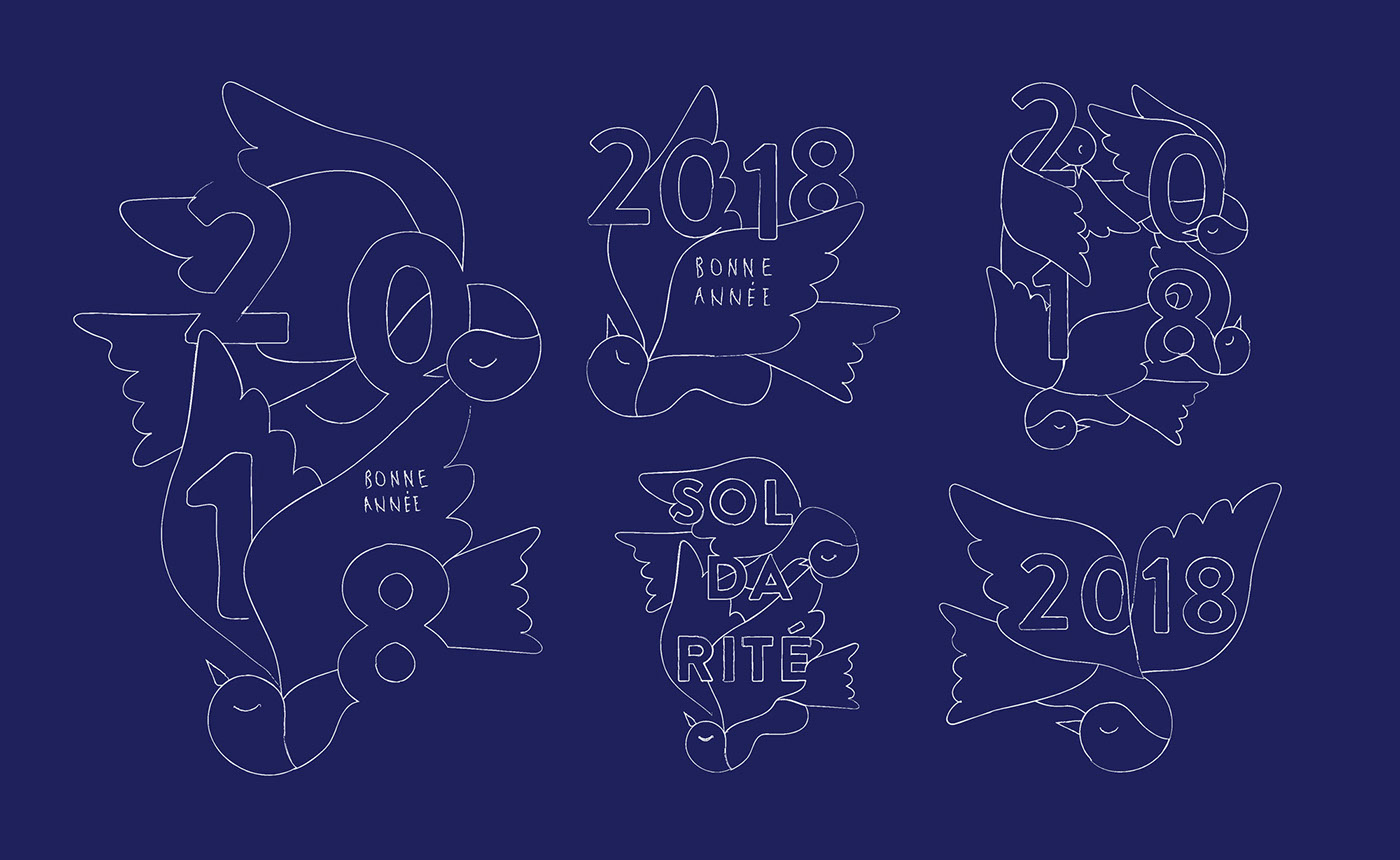 charity new year greeting ILLUSTRATION  Positive poster