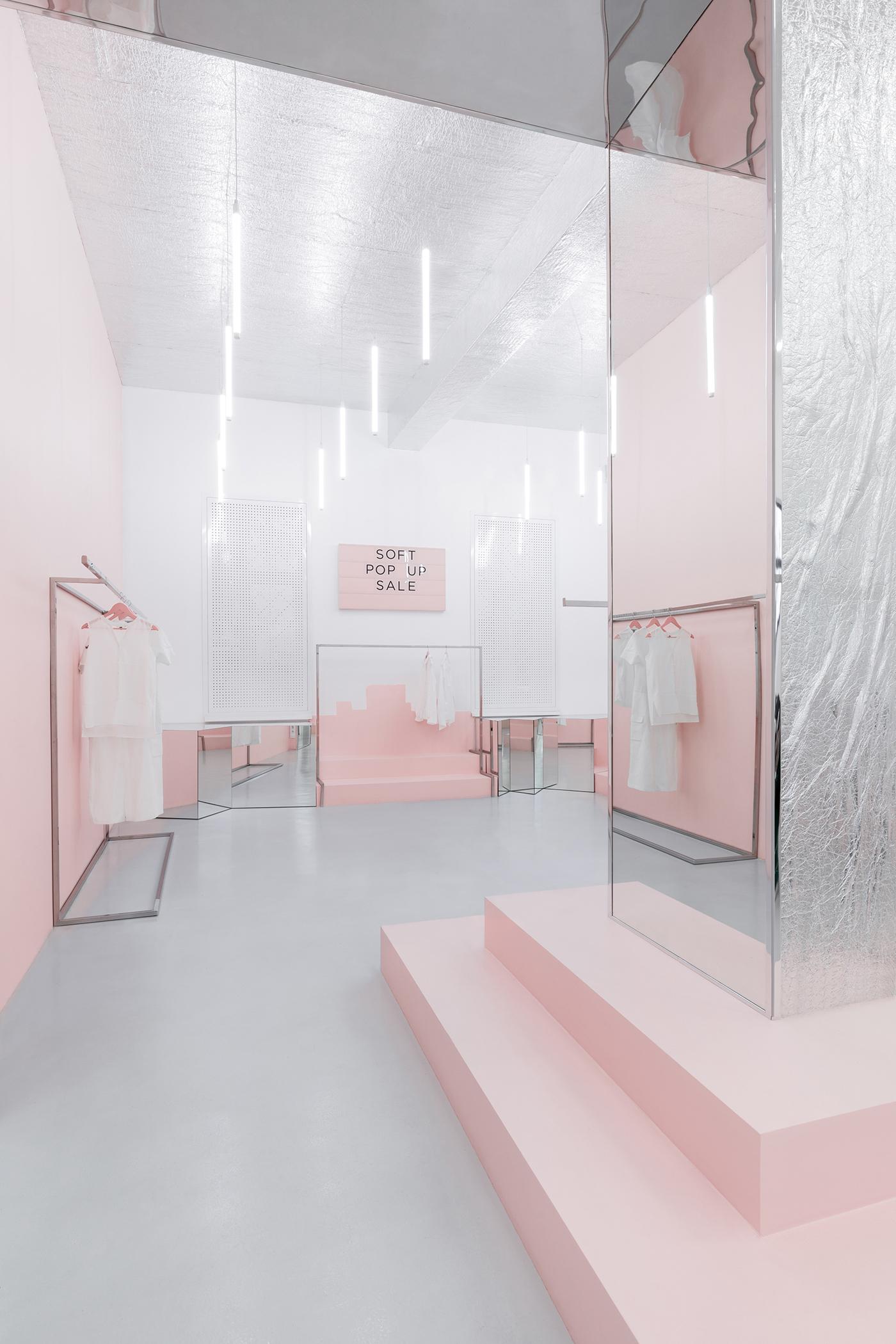 Interior Retail showroom blush metallic design Fashion