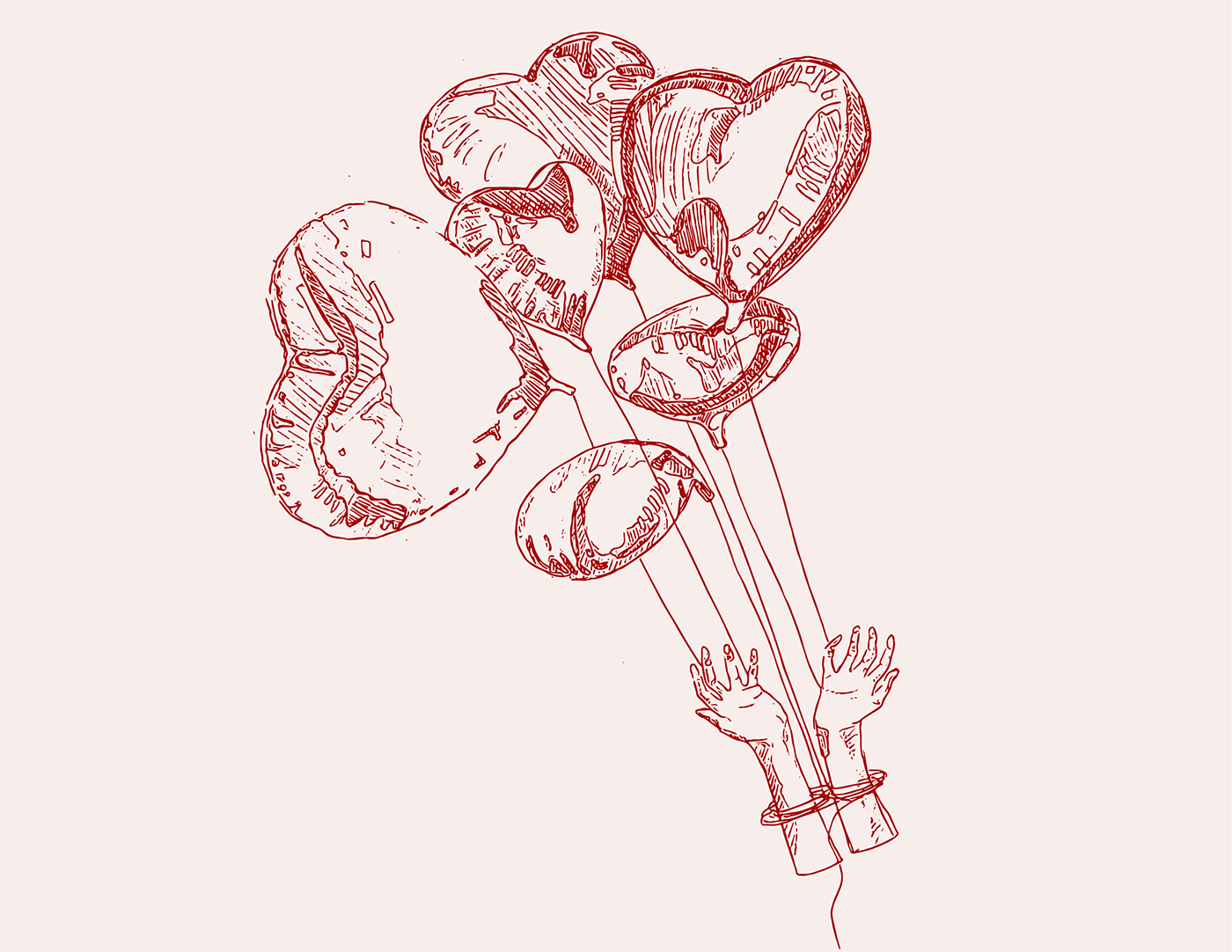 Hands being carried away by heart shaped balloons