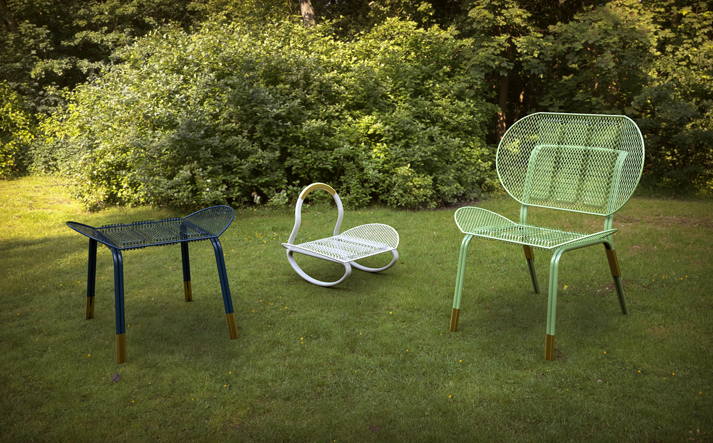 furniture garden metal steel mesh Garden Furniture expanded mesh
