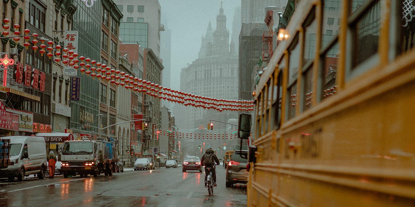 chinatown cinematic Film   New York snow storm street photography Two Bridges under two bridges cinematography