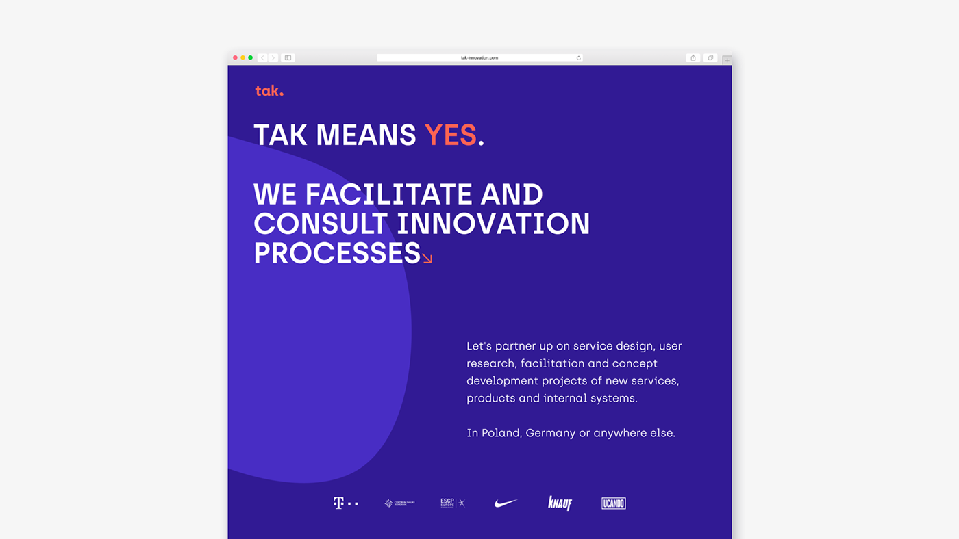 tak innovation website homepage design