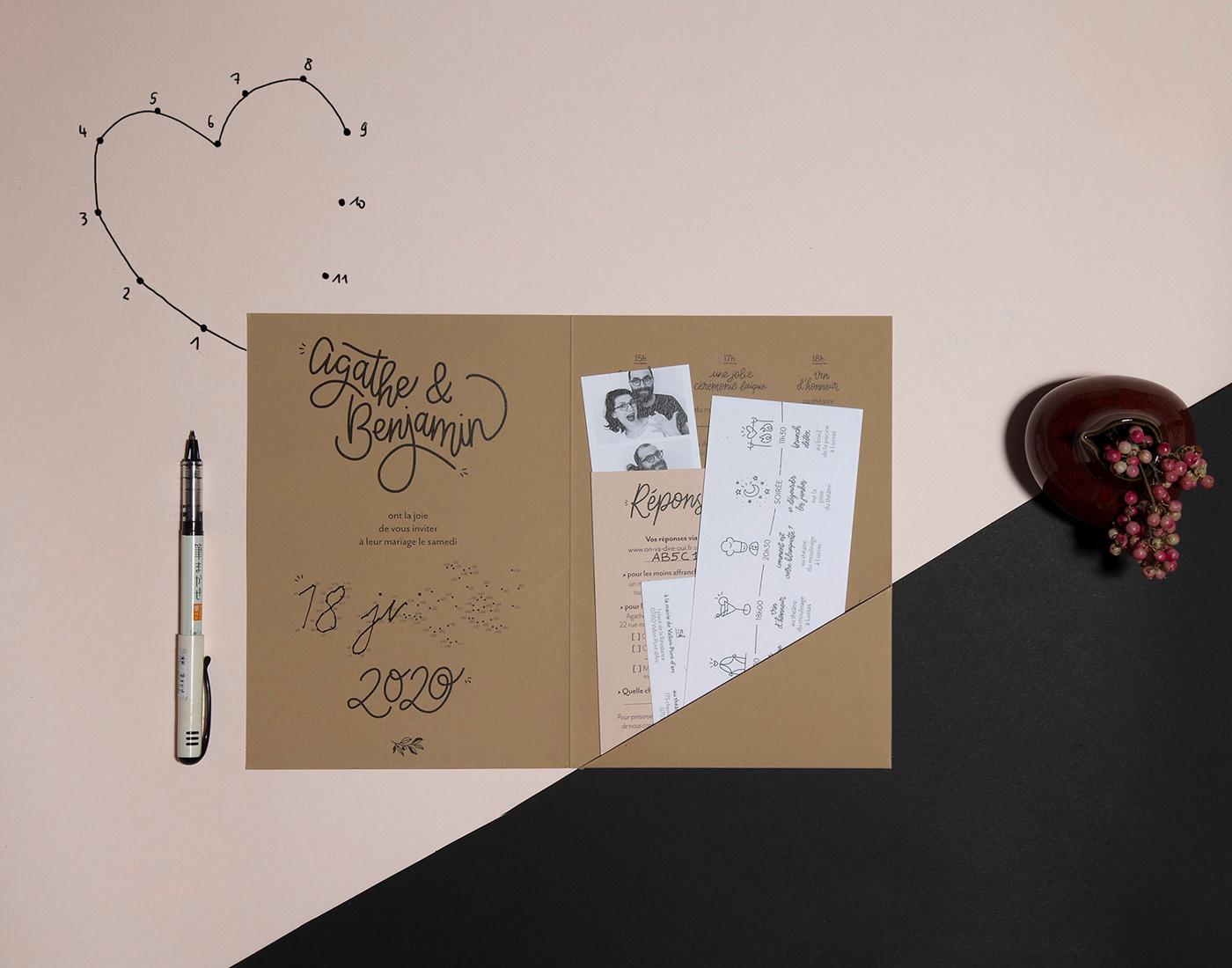 dessin faire part graphisme ILLUSTRATION  Invitation lettering mise en page Objet imprimé papier print