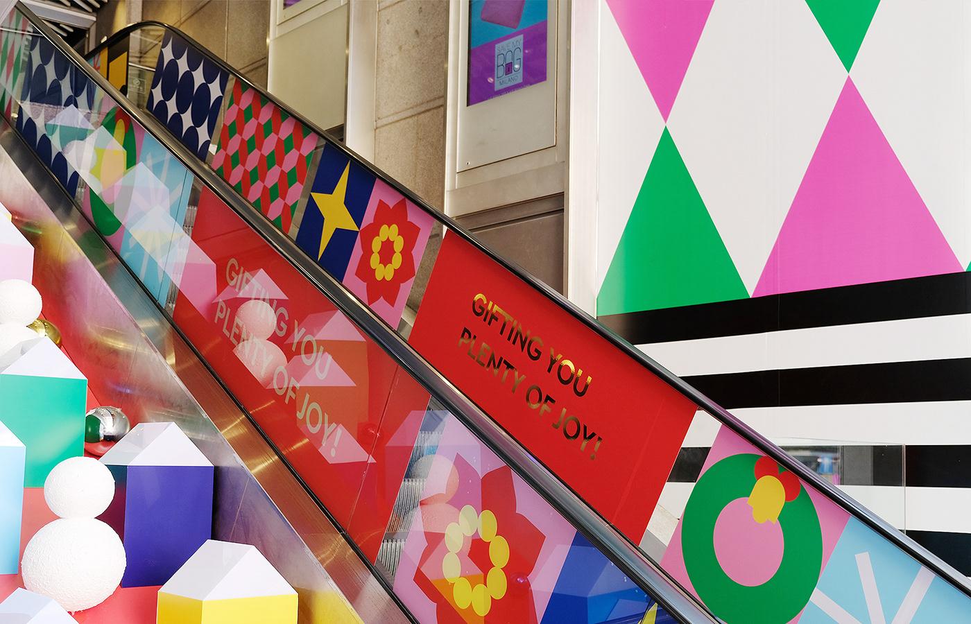 sogo department store xmas santa pattern Colourful  vm Window Display decoration simple