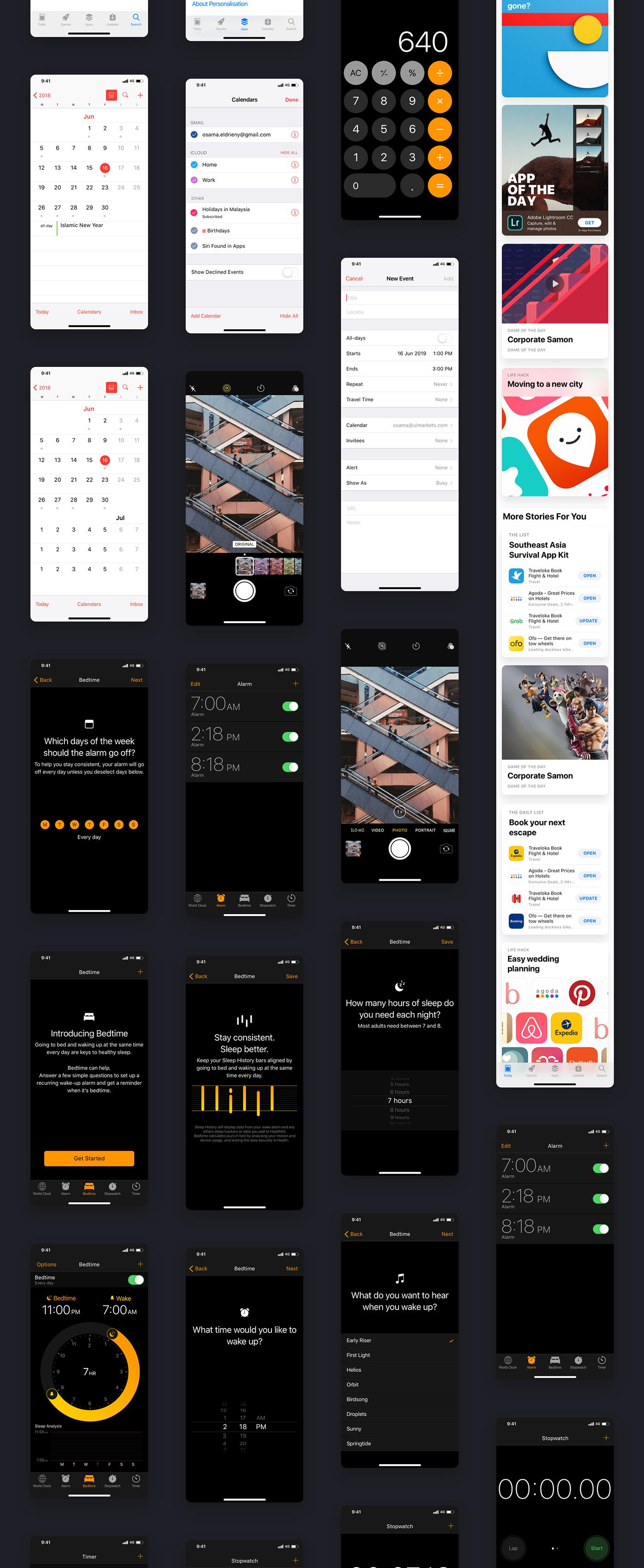 iOS12 ios ui kit UI kit iphone kit Mockup wireframe prototype iphone xs