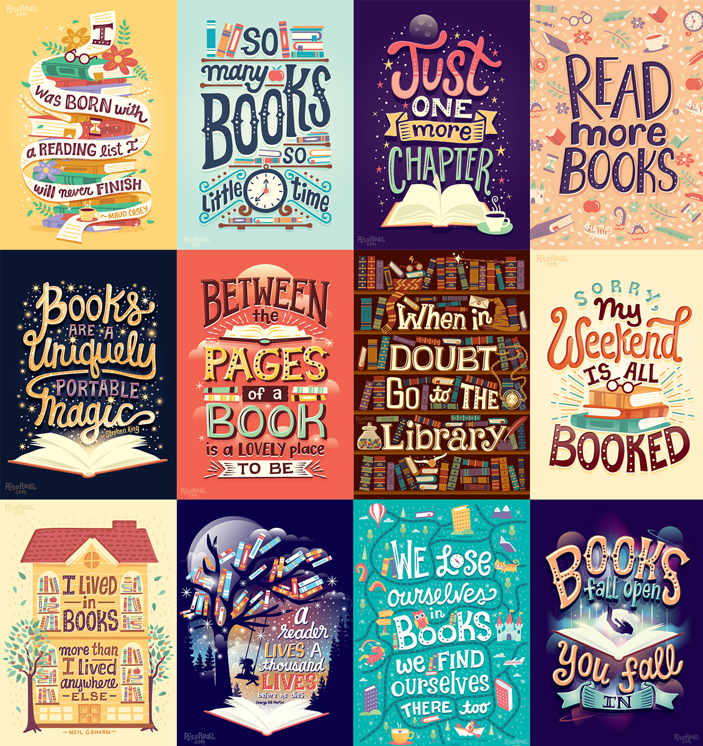 Illustrated Book Cover Quotes : Illustrated bookish quotes on behance