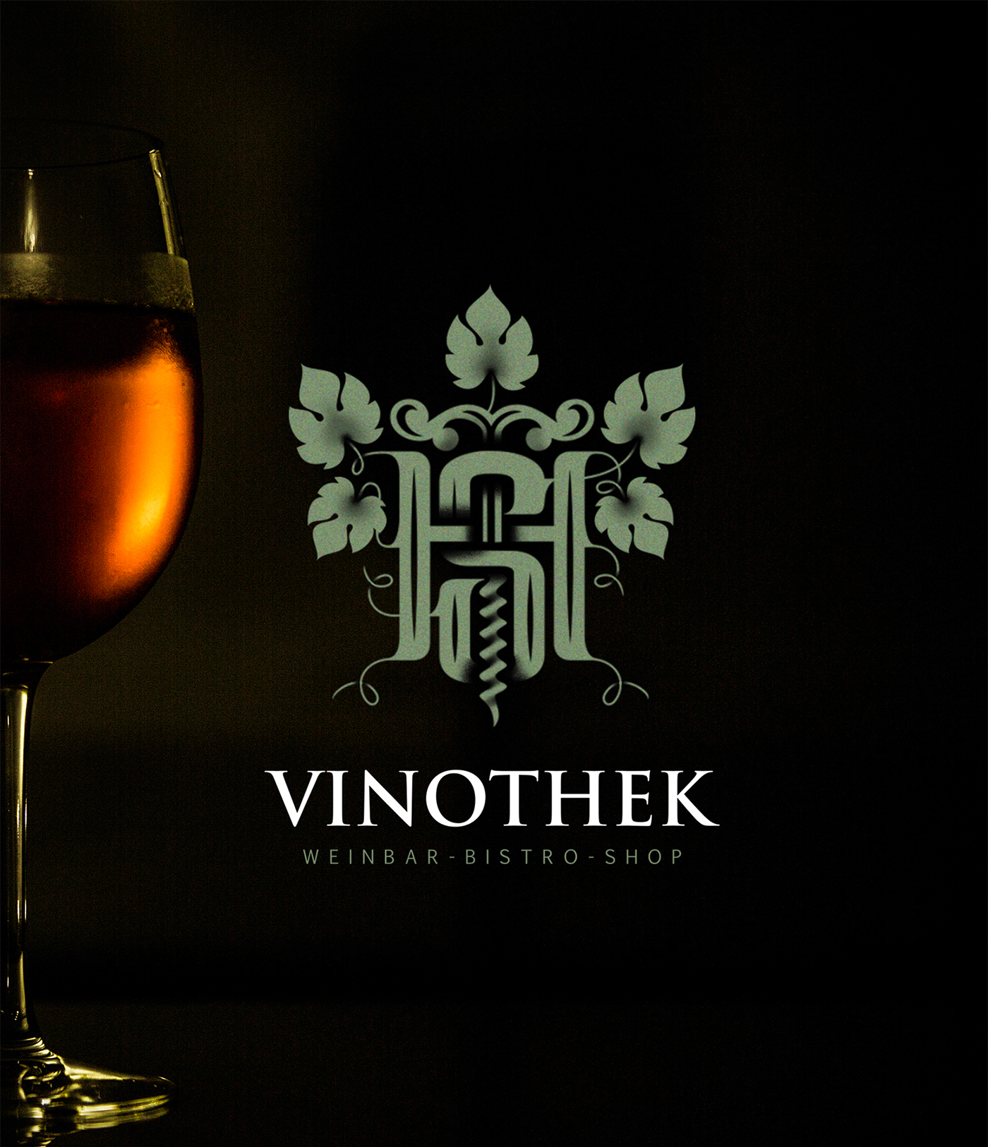 SH monogram vine wine leaves corkscrew initials typography   letters vine shop