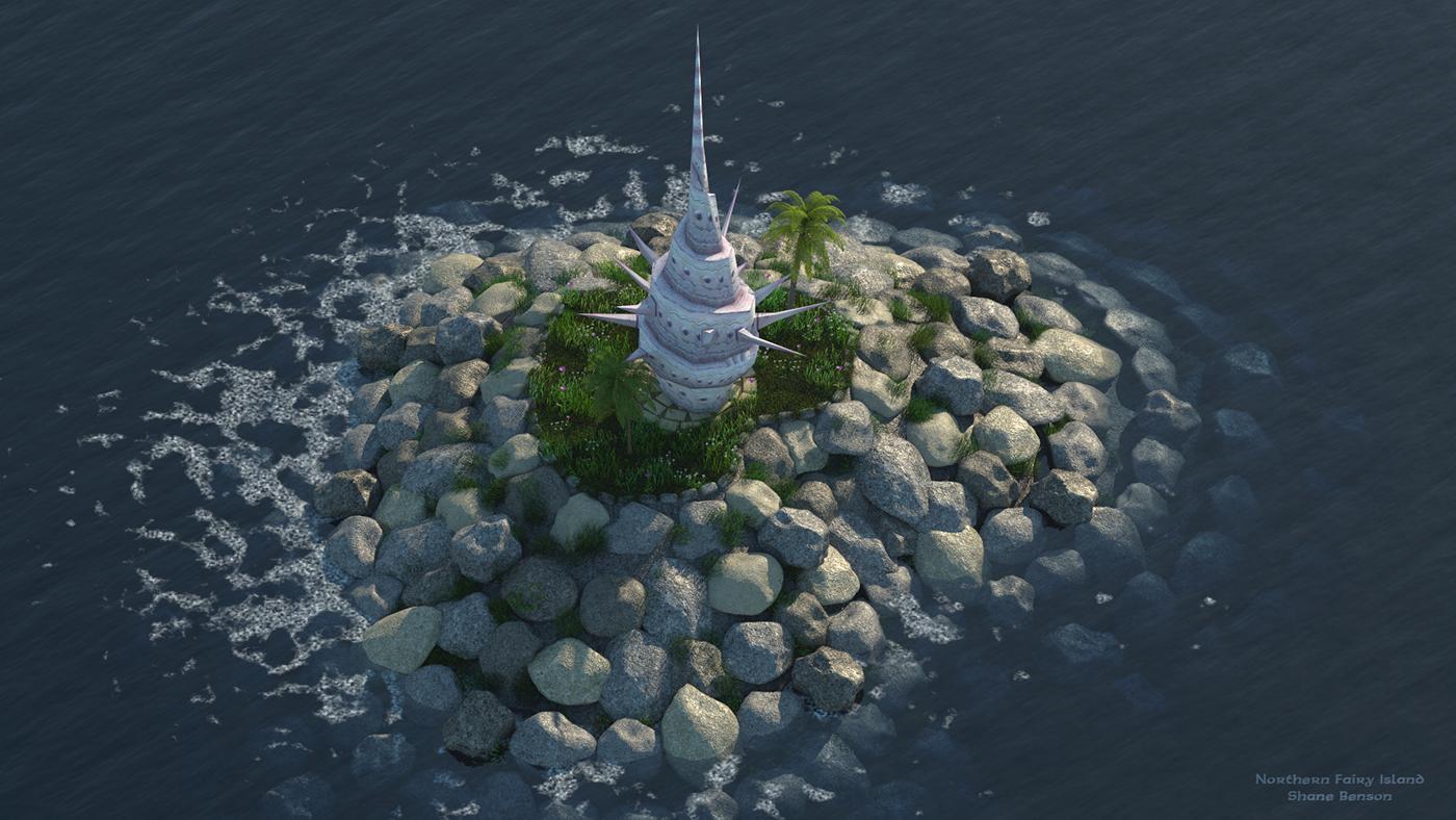 zelda WIND WAKER c4d cinema 4d game elements Island Ocean