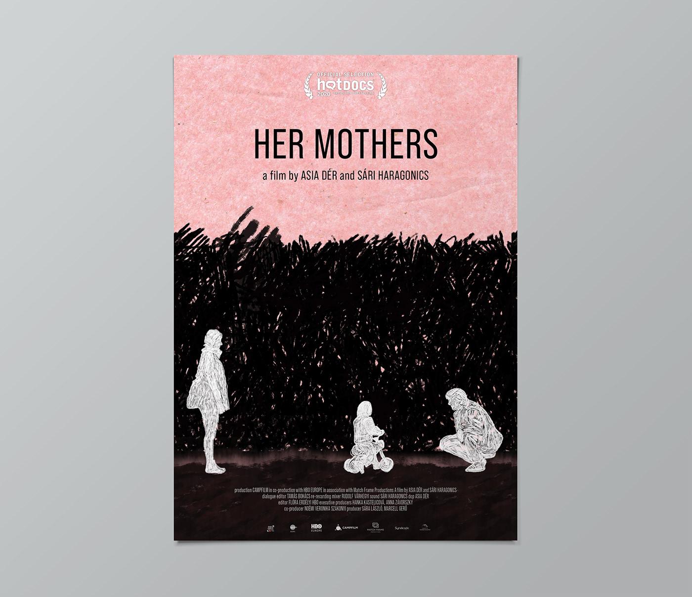 Cinema Documentary  mothers movie Movie graphics movie poster press kit rainbowfamily scribble textures