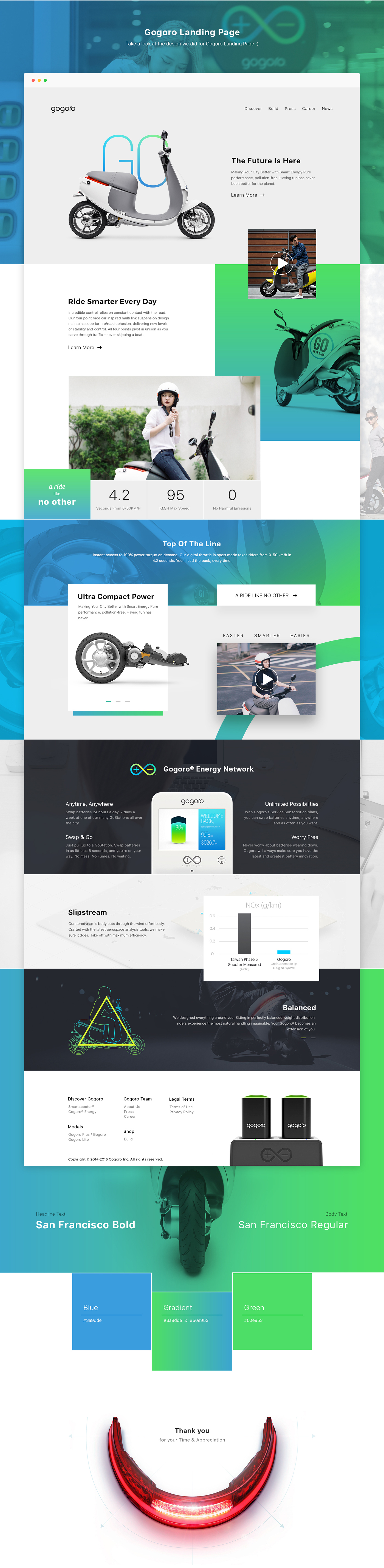 Bike ride energy Gogoro redesign landing page Scooter UI ux