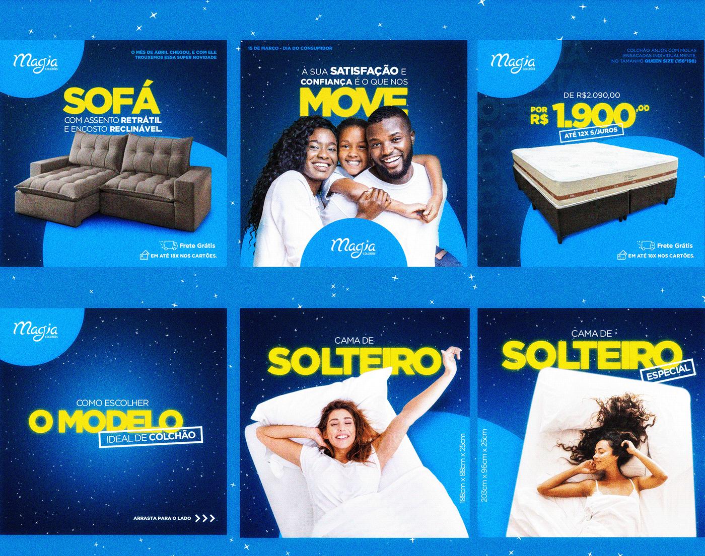 Behance clean design furniture magia colchões Magic   mattresses Sofisticado universe visual concept