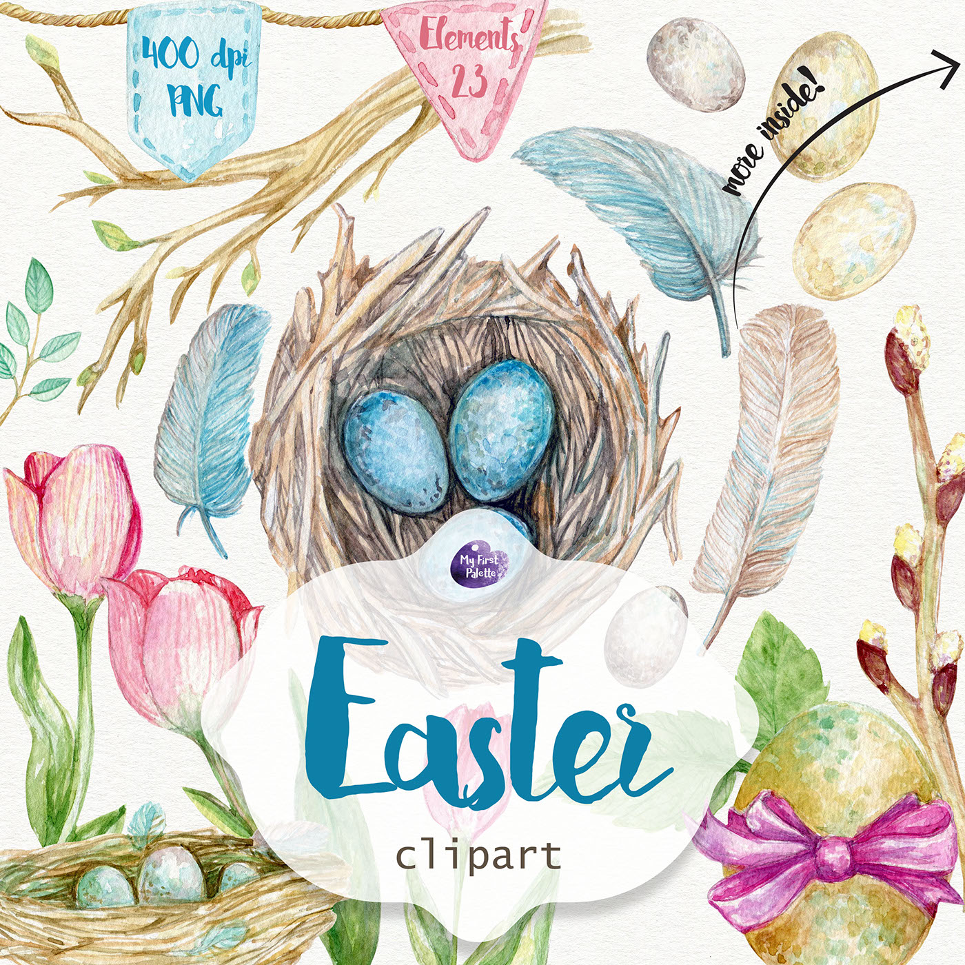 Easter watercolor clipart on Behance
