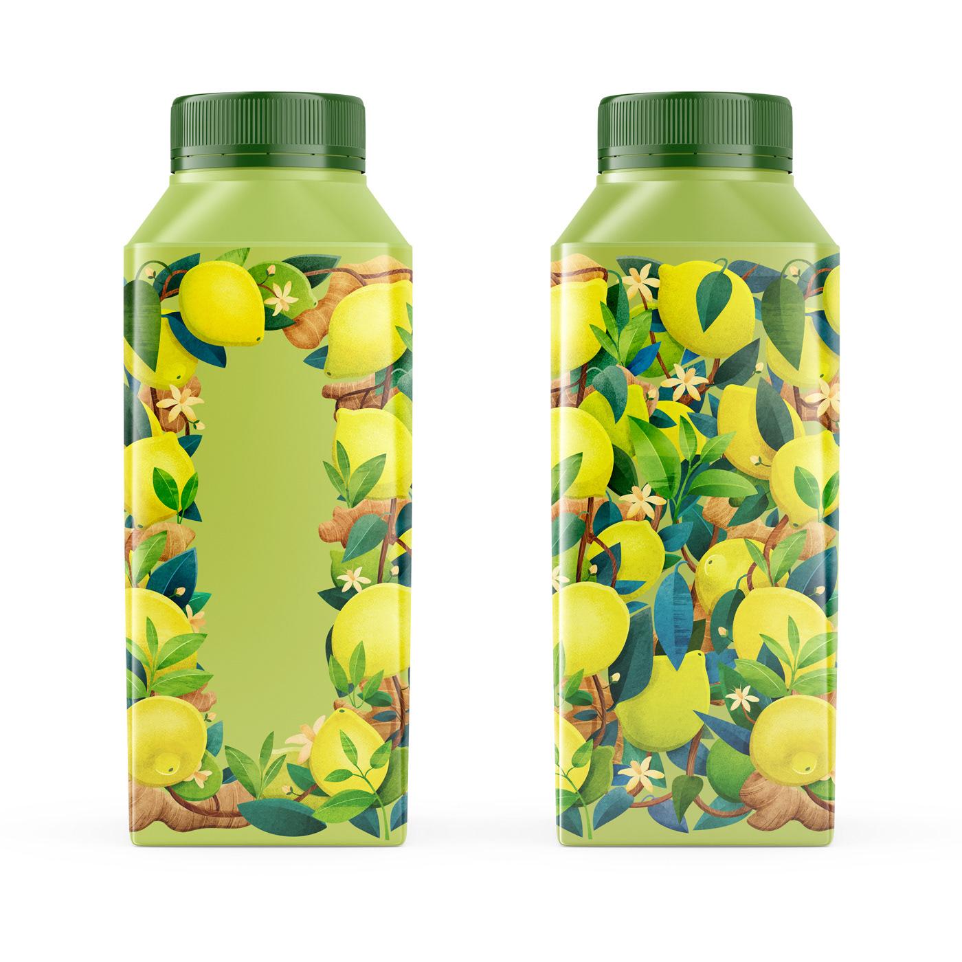 botanical bottle drink flower Food  Packaging Plant print tea ILLUSTRATION
