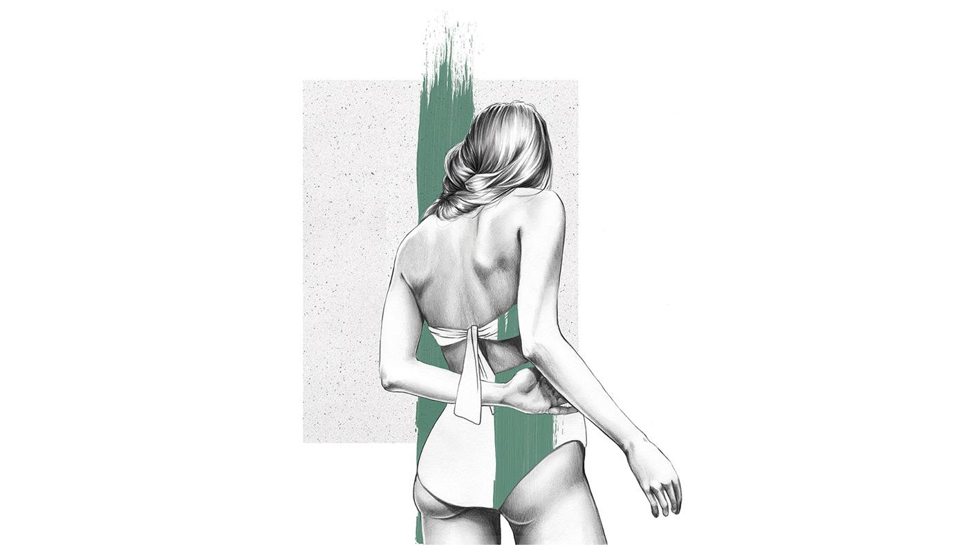 female Fashion  portrait Drawing  minimal woman Pencil drawing swimwear