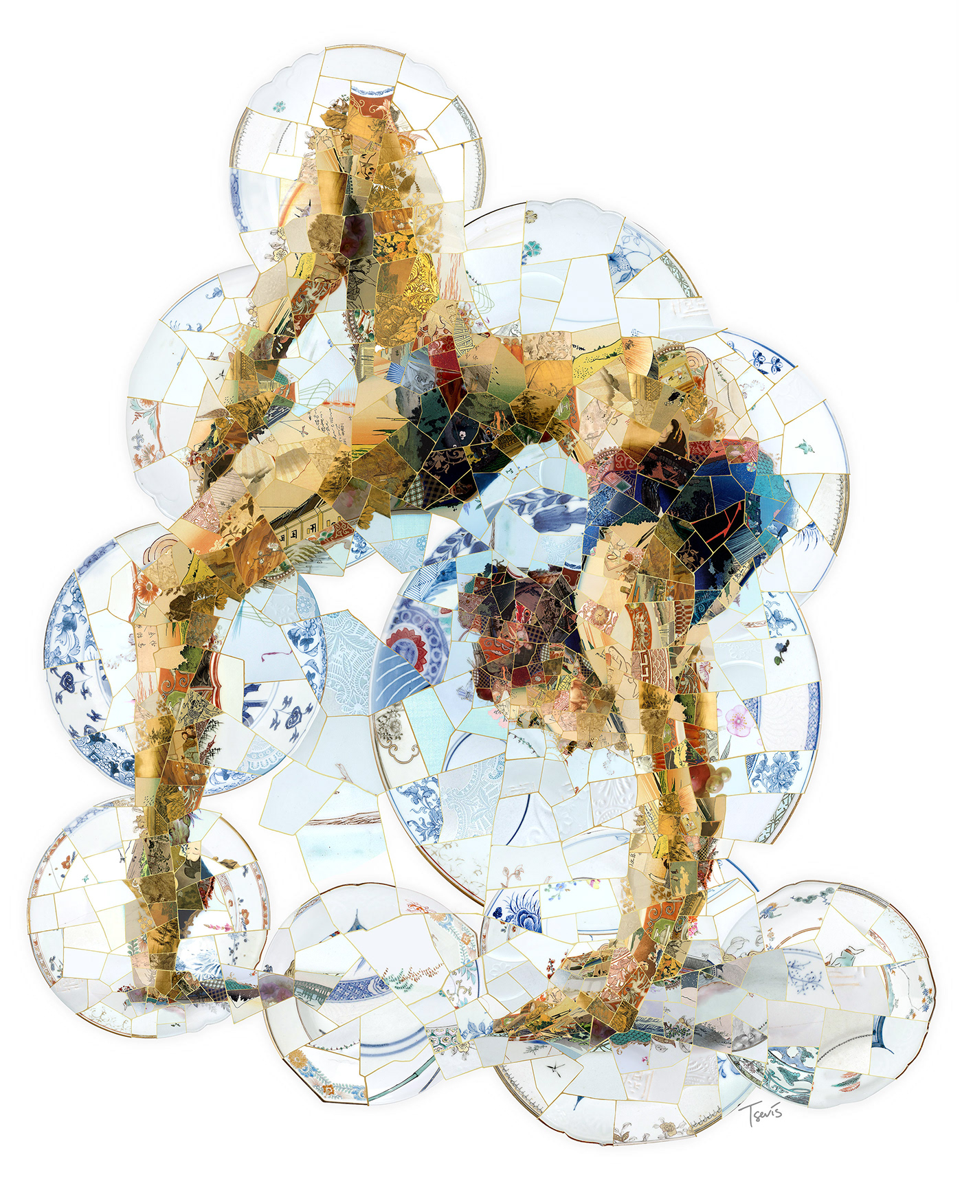 Mosaic illustration of a gymnast performing a difficult exercize. Created simulating Kintsugi art.