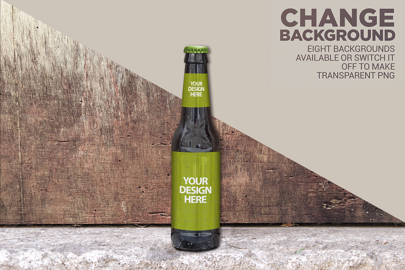 beer Label logo wood png Mockup bottle psd background texture
