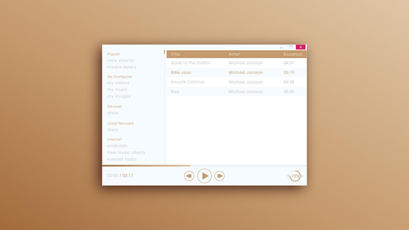 Interaction design  media player ui design UI/UX user experience user interface ux UX design