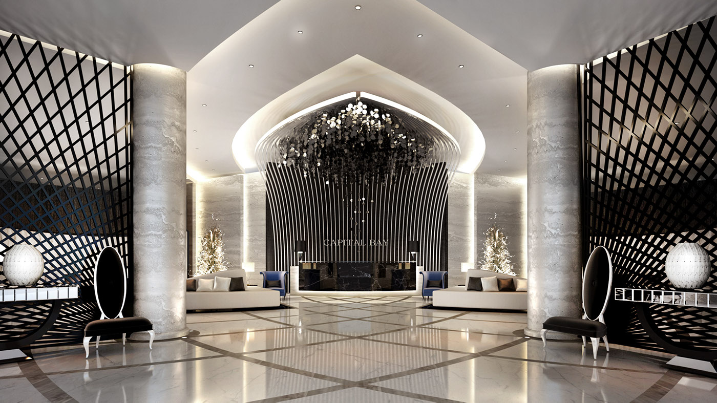 Main lobby interior design on behance for Hotel interior and exterior design