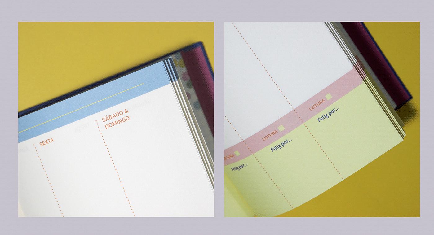Dourado gold foil impresso organização papelaria planner stationary colorful joyful