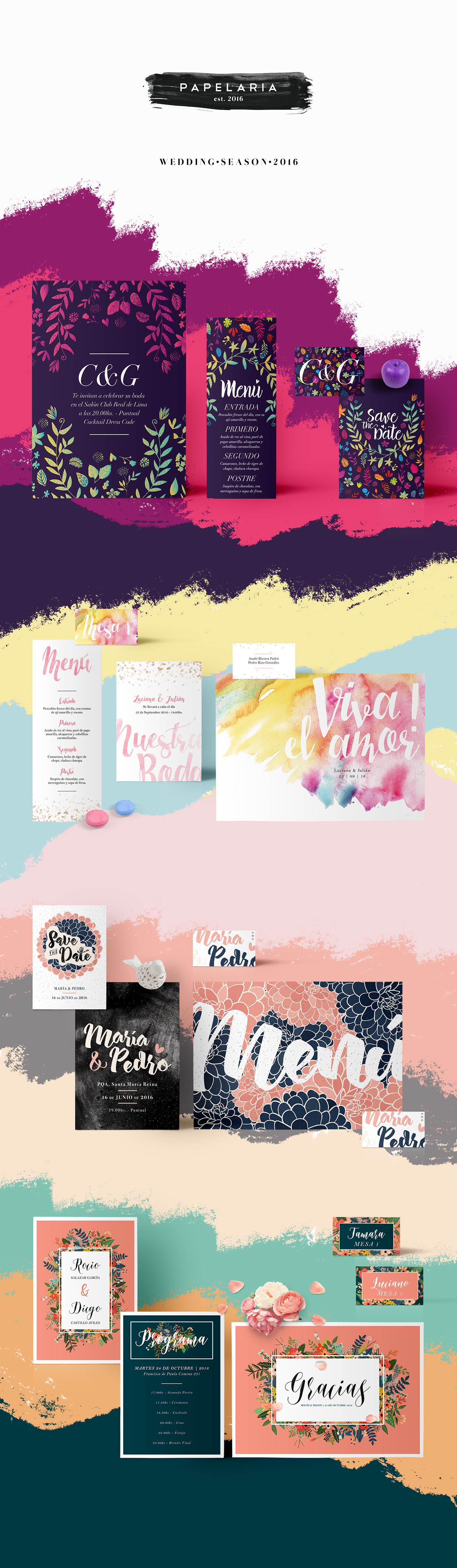 wedding Stationery watercolor color brush pastel Calligraphy   lettering Flowers celebration
