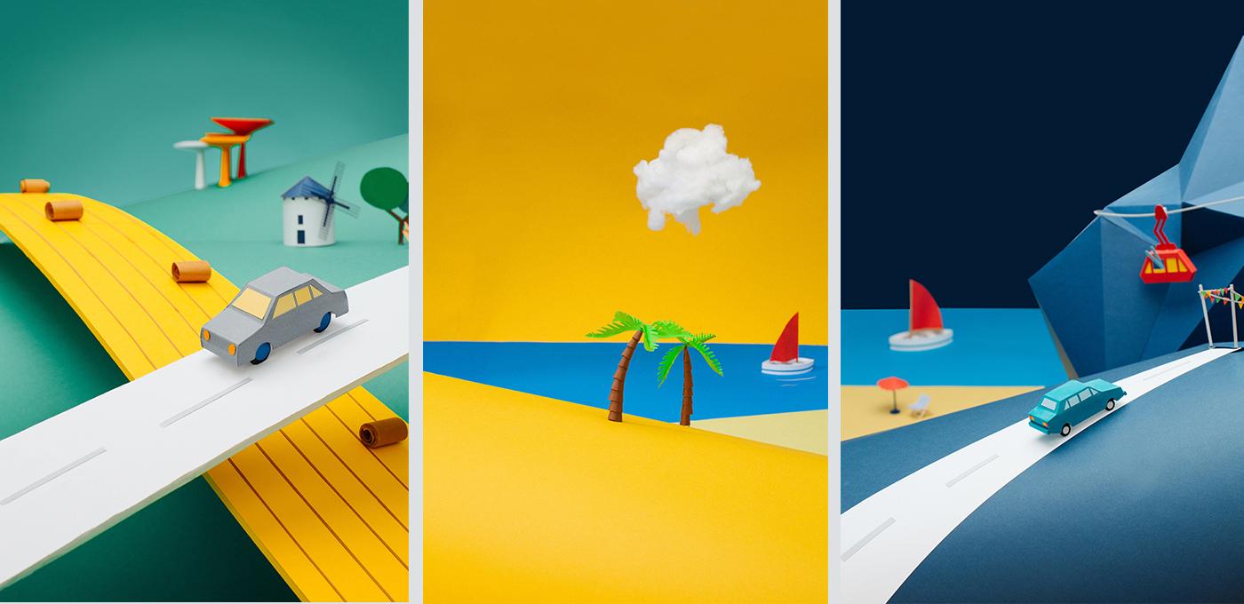 papercraft road Travel RoadTrip car holidays gif animation  handmade set
