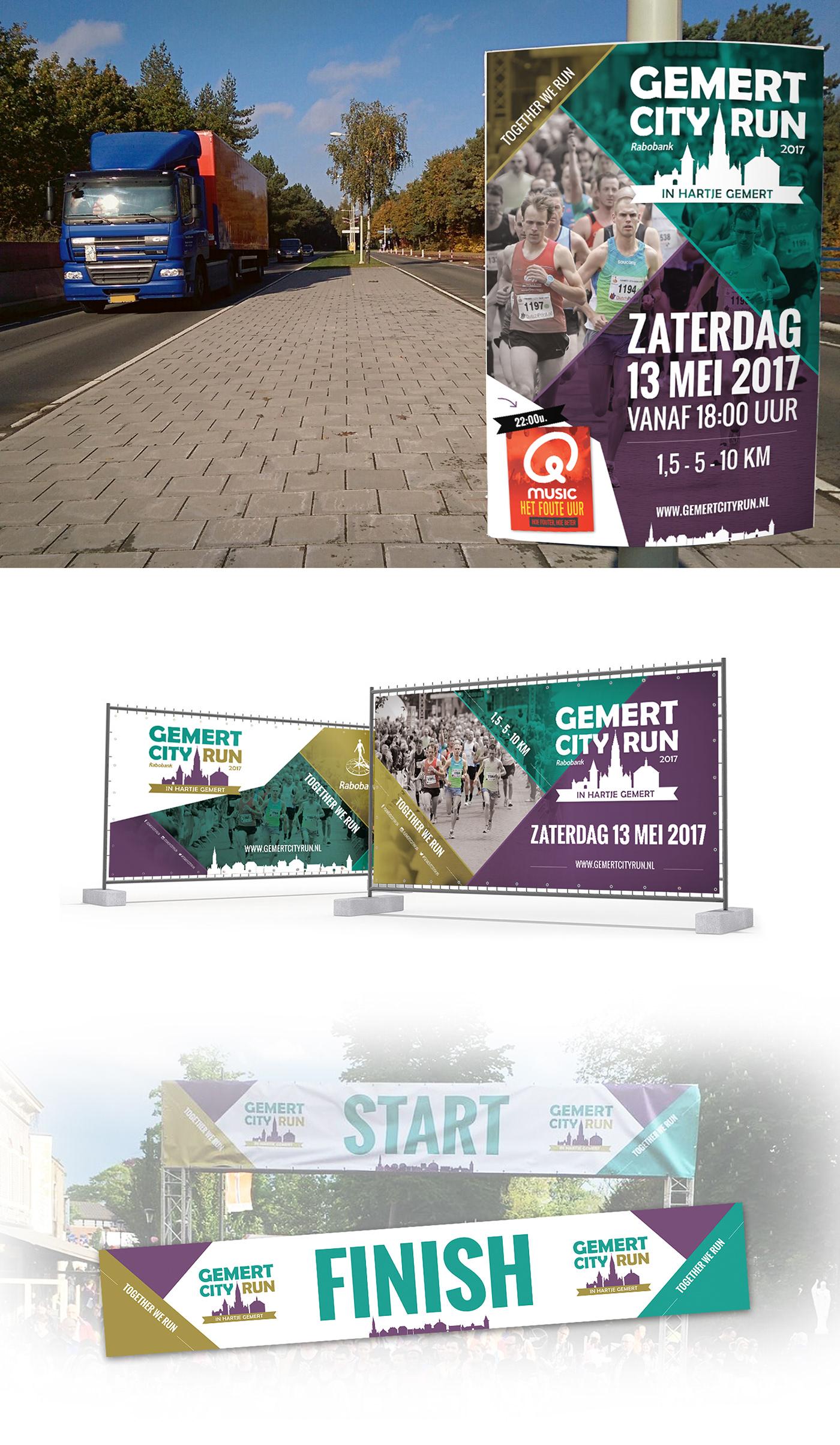 Adobe Portfolio graphic design  Logo Design flyer poster Promotiemateriaal drukwerk Gemert City Run branding