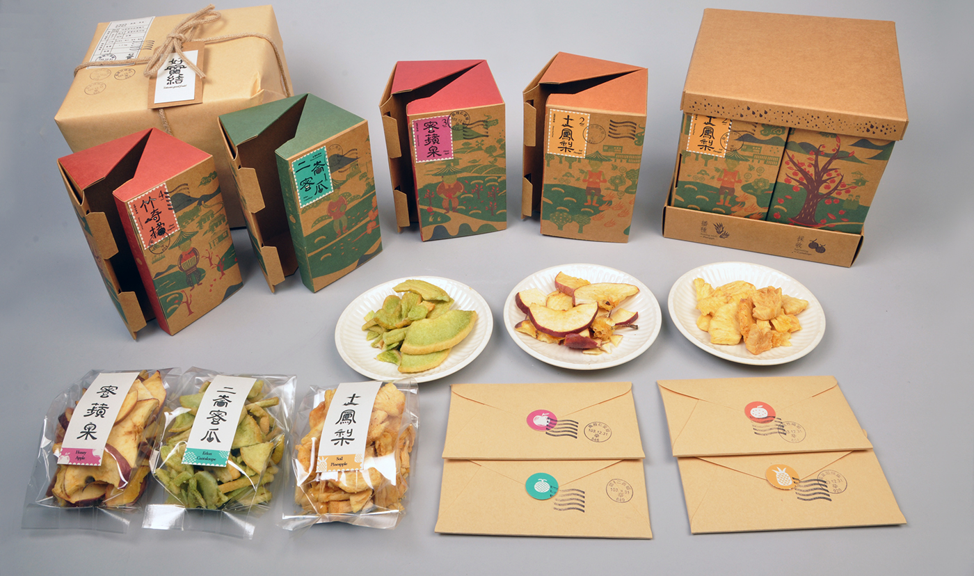 graphic Eating  Fruit typographic chinese Chinese Logotype cookies box gift box print
