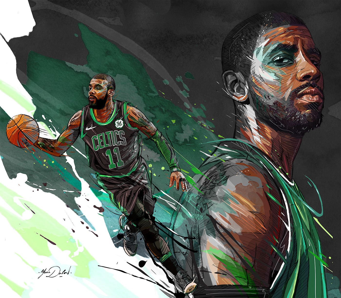 Kyrie Irving Cartoon Wallpaper Celtics Kadadaorg