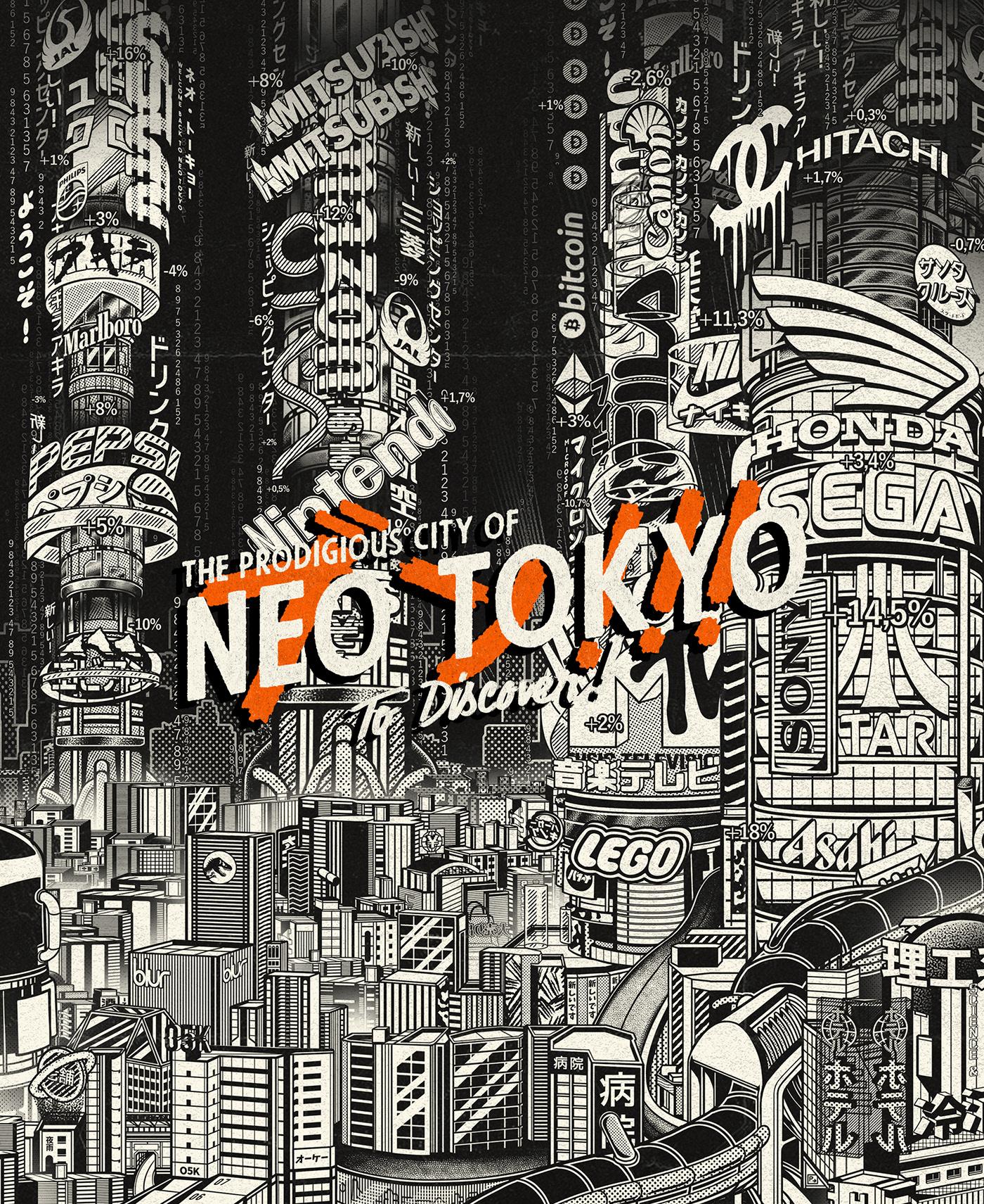 Neo Tokyo japan Cyberpunk ILLUSTRATION  city bitcoin erasure paiheme paiheme studio numerai