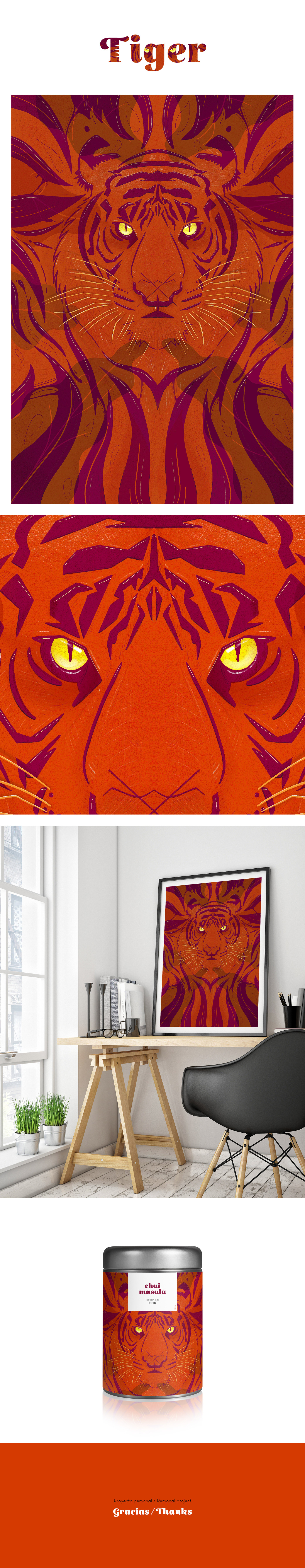 tigre simetria poster print ilustracion ILLUSTRATION  ipadpro applepencil Procreate