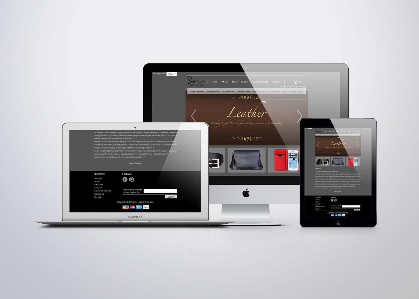 graphic design Website UI ux sn leather boutique Fashion  brand